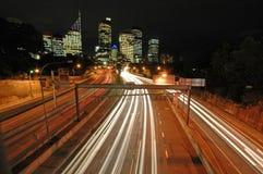 Traffico di notte di Sydney Immagine Stock