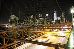 Traffico nel ponte di Brooklyn Immagini Stock Libere da Diritti