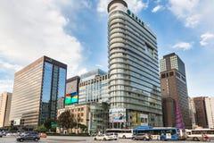 Traffico di Seoul in distretto del centro Fotografia Stock Libera da Diritti