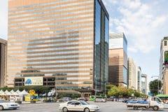 Traffico di Seoul in distretto del centro Immagine Stock Libera da Diritti