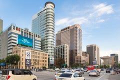 Traffico di Seoul in distretto del centro Fotografie Stock
