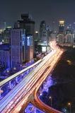 Traffico di Shanghai alla notte Fotografia Stock Libera da Diritti