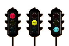 Traffico-indicatore luminoso, tre colori illustrazione di stock