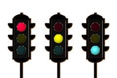 Traffico-indicatore luminoso, tre colori illustrazione vettoriale