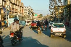 Traffico a Kathmandu, Nepal Immagine Stock