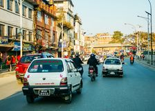 Traffico a Kathmandu, Nepal Immagine Stock Libera da Diritti