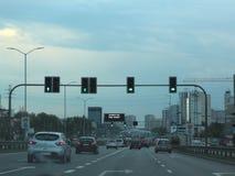 Traffico in Katowice, Polonia immagine stock