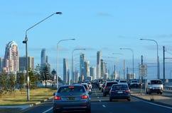 Traffico nel paradiso Australia dei surfisti Immagine Stock