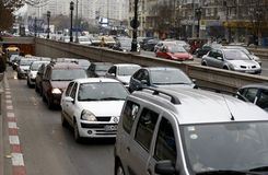 Traffico pesante a Bucarest Immagine Stock