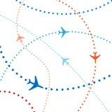 Traffico æreo variopinto di voli di corsa degli aerei di linea aerea Fotografia Stock Libera da Diritti
