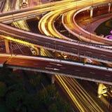 Traffico stradale del viadotto Fotografia Stock Libera da Diritti