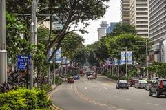 Traffico stradale moderno del frutteto di Singapore fotografia stock