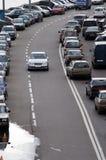 Traffico stradale a Mosca fotografie stock libere da diritti