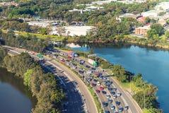 Traffico su Sydney da uno stato all'altro, vista aerea Fotografia Stock Libera da Diritti