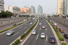 Traffico urbano di Pechino Fotografia Stock Libera da Diritti
