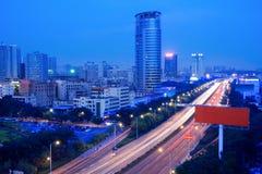 Traffics on the street at night. The traffics on the street at night in shenzhen,China Stock Image