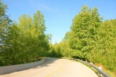 Trafficway och träd Royaltyfria Bilder