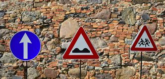 Trafic and roadsigns. The photo was taken in old museum of roads and transportation, Europe royalty free stock photos