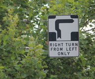 Trafic sign Melbourne. Confusing traffic rules - Hook turn sign in Melbourne Australia Royalty Free Stock Photo