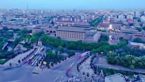 Trafic Of Xi`an At Night,China. Trafic Of Xi`an At Night,China stock video