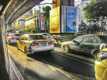 Traficjam de Banguecoque na manhã com rimlight Imagem de Stock