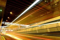 trafik för bilstadslampa Royaltyfri Bild