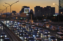trafik för driftstopp för beijing bilar tung royaltyfri fotografi