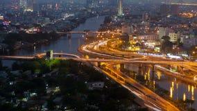 Trafik för Ho Chi Minh stadsgenomskärning från dag till natten, Vietnam timelapse lager videofilmer