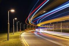 trafik för nattregnsnow arkivfoto