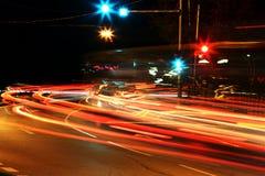 trafik för nattregnsnow Royaltyfri Bild