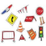trafik för tecken för röda band för omvägrampekare träungefärlig Fotografering för Bildbyråer