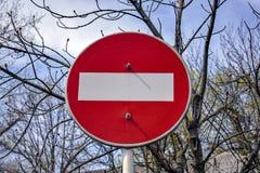 Trafik förbjudas, vägmärket royaltyfri foto