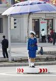 trafik för dprk-kvinnligpolis Fotografering för Bildbyråer