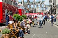 Trafik-fria Regent Street, London Royaltyfria Foton