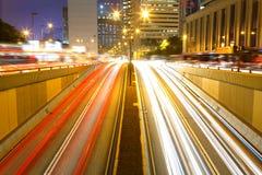 Trafik genom hela centra Royaltyfria Foton