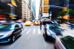 Trafik i Manhattan, NYC Arkivbild