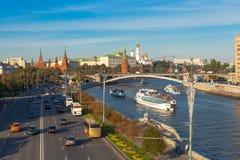 Trafik i mitt av Moskva Royaltyfri Fotografi