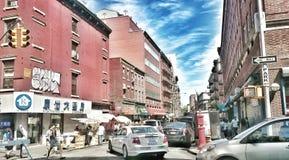 trafik i NYC Arkivbilder