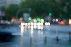 Trafik med bokeheffekt fotografering för bildbyråer