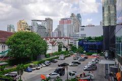 Trafik på centret i Bangkok, Thailand Arkivfoton
