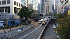 Trafik på gatorna av Hong Kong stock video