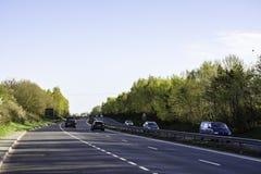 Trafik på A5 huvudvägen, UK Fotografering för Bildbyråer