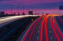 Trafik på morgonen Arkivbild