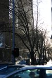 Trafik på Spencergatan melbourne Arkivbild