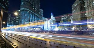 Trafik till och med Chicago Fotografering för Bildbyråer