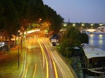 Trafik vid Seinen Royaltyfria Foton