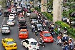 Trafikblodstockning i Bangkok Arkivbilder
