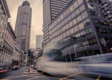 Trafikera i London, nära torn 42, Bishopsgate Royaltyfri Foto