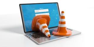 Trafikera kottar på en bärbar dator, illustrationen 3d Royaltyfri Foto