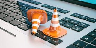 Trafikera kottar på en bärbar dator, illustrationen 3d Royaltyfria Bilder